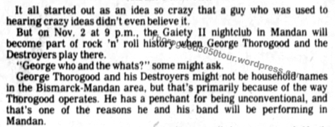 11 George Thorogood 50 50 Tour Gaiety II Concert Preview Crazy Idea Bismarck Tribune Oct 31 1981 pg 8
