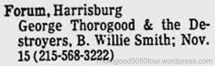 24 George Thorogood 50 50 Tour Harrisburgh Forum Concert Ad with Opening Act Tonight Reading Eagle 1981 Nov 8