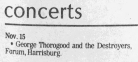 24 George Thorogood Harrisburg Forum 50 50 Tour Concert Listing The Sentinel Nov 14 1981
