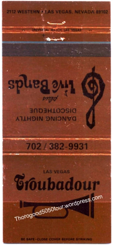 50 Las Vegas Troubadour Matchbook Cover
