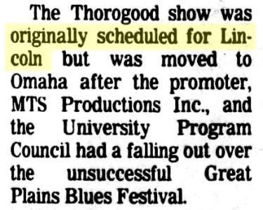 ALT5050 13 George Thorogood 50 50 Tour Nebraska Concert Moved from Lincoln Lincoln Journal Star Nov 5 1981 pg 10